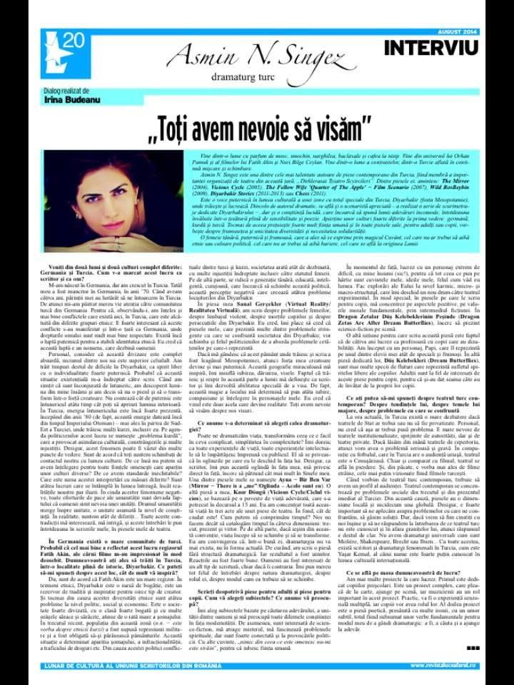 Interviu Asmin N. Singez